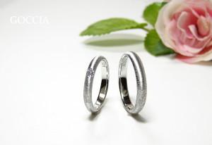 甲丸の結婚指輪・ダイヤ入り