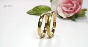 ハンマーで叩いた結婚指輪